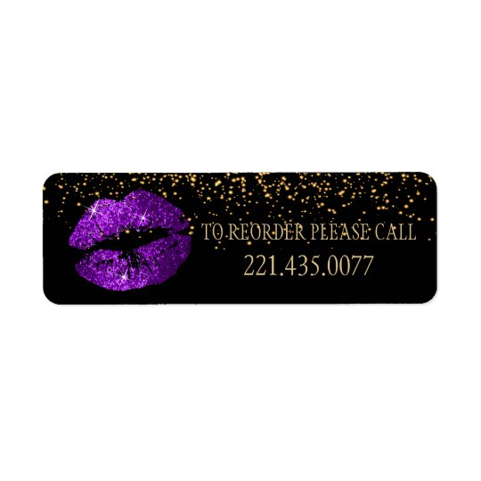 El confeti de oro y los labios púrpuras 2 - etiqueta de remite