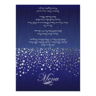 El confeti de plata elegante puntea el azul del invitación 16,5 x 22,2 cm