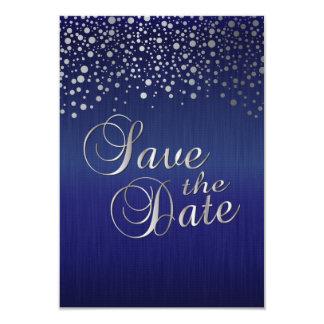 El confeti de plata elegante puntea el azul del invitación 8,9 x 12,7 cm