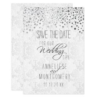 El confeti de plata elegante puntea la textura invitación 8,9 x 12,7 cm