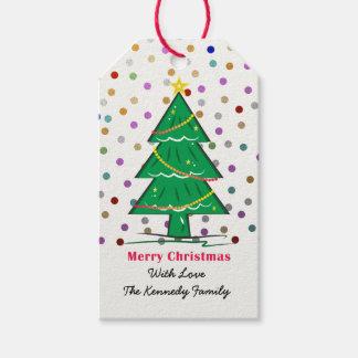 El confeti del árbol de navidad puntea día de etiquetas para regalos