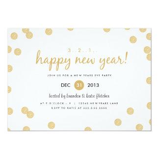 El confeti del oro por Origami imprime Años Nuevos Invitación 12,7 X 17,8 Cm