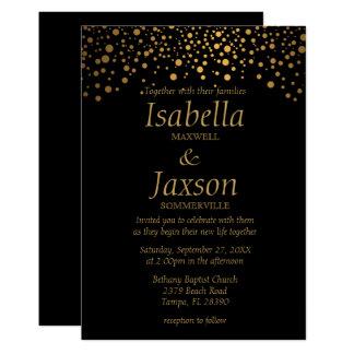 El confeti elegante del efecto metalizado de oro invitación 12,7 x 17,8 cm