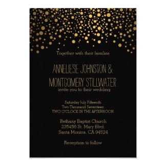 El confeti elegante del oro puntea la invitación