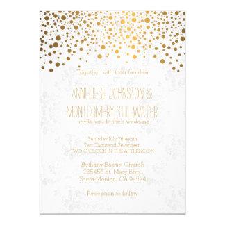 El confeti elegante del oro puntea tema del boda invitación 12,7 x 17,8 cm