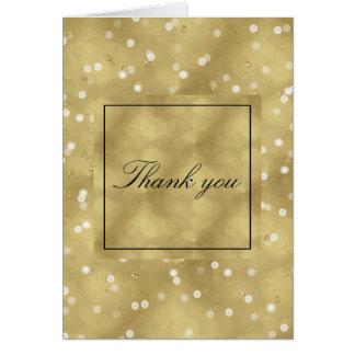 El confeti soñador de Bokeh del oro le agradece Tarjeta Pequeña