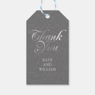 El confeti y la escritura de plata le agradecen etiquetas para regalos