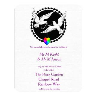 El conjunto de la invitación gay del boda del arco