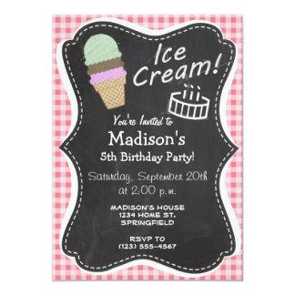El cono de helado encendido se ruboriza guinga invitación 12,7 x 17,8 cm