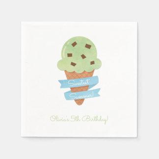 El cono de helado verde embroma servilletas de la servilleta desechable