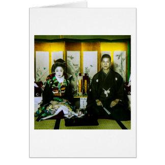 El conseguir casado en Japón viejo los pares Tarjeta De Felicitación