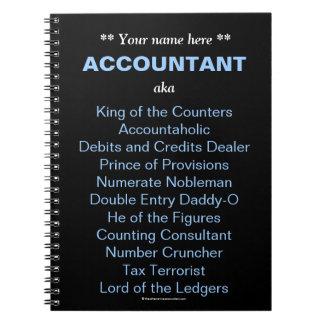 El contable del hombre añade cargos divertidos y t libros de apuntes con espiral
