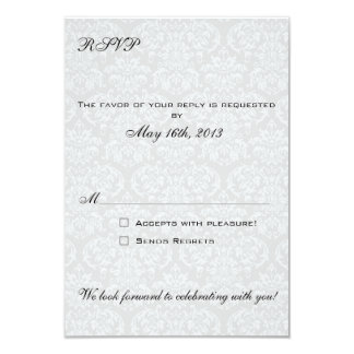 El coordenada de las tarjetas de RSVP del damasco Invitación 8,9 X 12,7 Cm