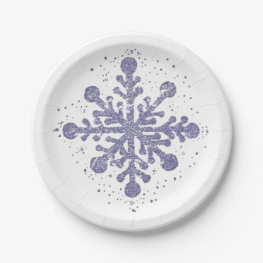 """El copo de nieve azul """"lo dejó nevar"""" placa plato de papel"""