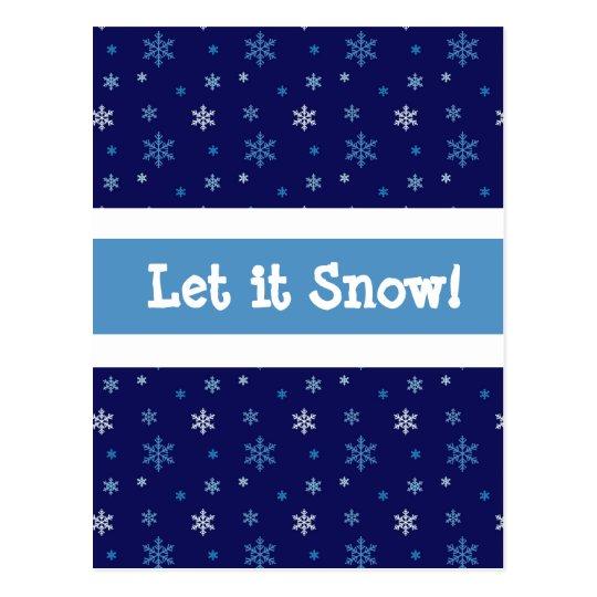 """El copo de nieve azul """"lo dejó nevar"""" postal"""