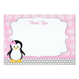 El copo de nieve del invierno del pingüino le invitación 8,9 x 12,7 cm
