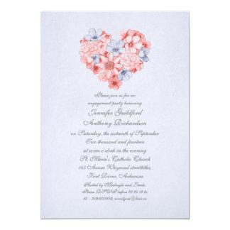 el coral florece al fiesta de compromiso del invitación 12,7 x 17,8 cm