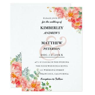 El coral moderno se ruboriza boda elegante de la invitación 12,7 x 17,8 cm