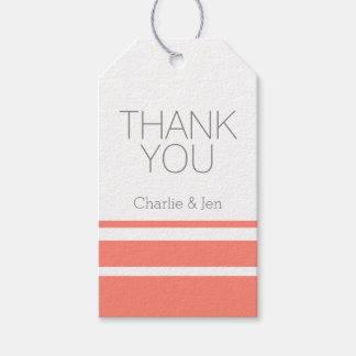 El coral y el gris de encargo le agradecen etiquetas para regalos