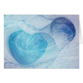 El corazón azul remolina tarjeta de felicitación
