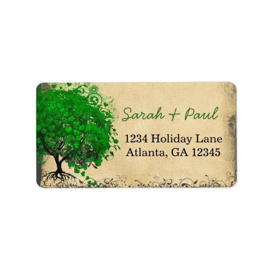 El corazón caprichoso lindo del verde esmeralda etiqueta de dirección