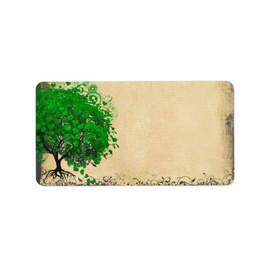 El corazón caprichoso lindo del verde esmeralda etiquetas de dirección