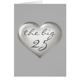 El corazón de cristal de plata 25 grandes - tarjeta de felicitación