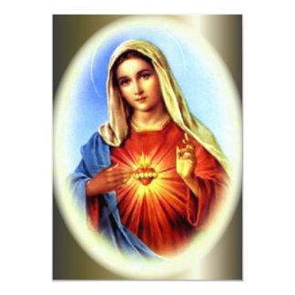El corazón de Imacculate del Virgen María Invitación 12,7 X 17,8 Cm