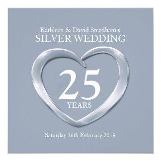 El corazón de la bodas de plata 25 años de invitación 13,3 cm x 13,3cm