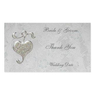 El corazón de plata le agradece etiqueta del favor tarjeta de visita