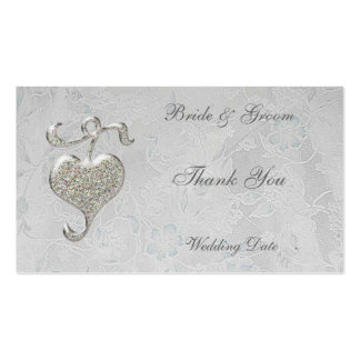 El corazón de plata le agradece etiqueta del favor tarjetas de visita