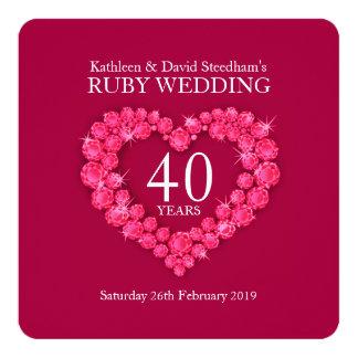 El corazón de rubíes del boda 40 años de fiesta invitación 13,3 cm x 13,3cm