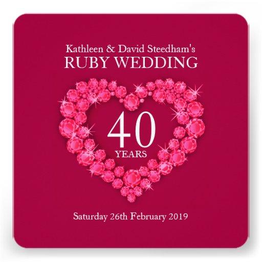 El corazón de rubíes del boda 40 años de fiesta ro comunicados