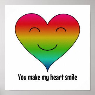 El corazón del arco iris de LGBT elige color Póster
