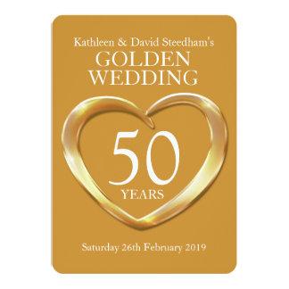 El corazón del boda de oro 50 años de fiesta del invitación 12,7 x 17,8 cm