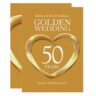 El corazón del boda de oro 50 años de fiesta del invitación 11,4 x 15,8 cm
