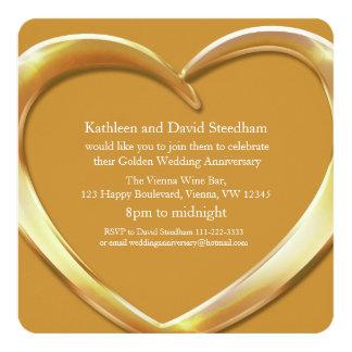 El corazón del boda de oro 50 años de fiesta del invitación 13,3 cm x 13,3cm