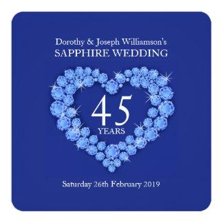 El corazón del boda del zafiro 45 años de fiesta invitación 13,3