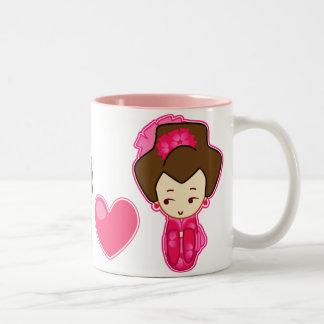 El corazón del samurai taza de café de dos colores