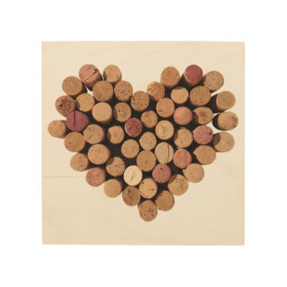 El corazón del vino tapa el arte con corcho de impresión en madera