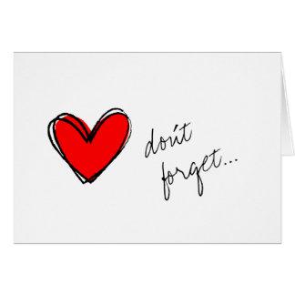 El Corazón-Don't rojo olvida Tarjeta Pequeña