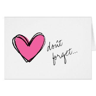 El Corazón-Don't rosado olvida Tarjeta Pequeña