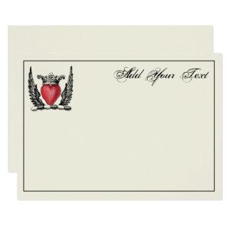 El corazón heráldico se va volando la tarjeta de invitación 12,7 x 17,8 cm