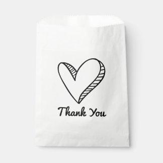 El corazón negro le agradece boda/fiesta bolsa de papel
