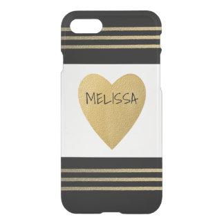 El corazón negro moderno del oro blanco raya funda para iPhone 7