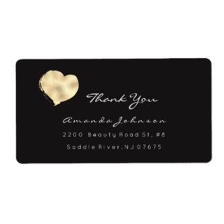 El corazón pintado el negro blanco de marfil etiquetas de envío