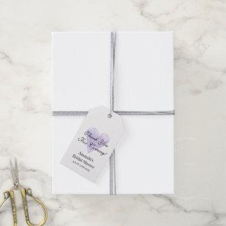 El corazón púrpura le agradece por ducha nupcial etiquetas para regalos