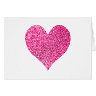 El corazón rosado brillante del brillo le agradece tarjeta pequeña