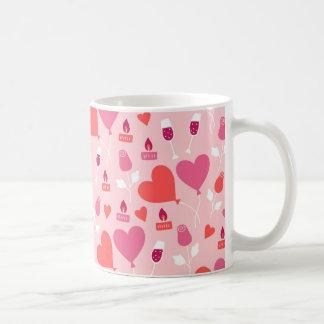 El corazón rosado del el día de San Valentín Taza De Café