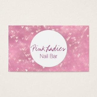 El corazón rosado enciende al beautician de la tarjeta de negocios
